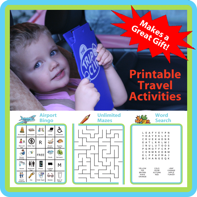 A kid-sized clipboard, attached pen, and unlimited printable travel activities make this a great gift idea for the holidays!