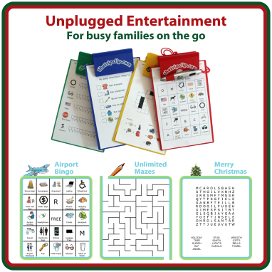 The Trip Clip clipboard and printable activity pages offer great unplugged entertainment for your next trip. It comes with an attached pen so you can't lose it, and the pen writes in 4 different colors.