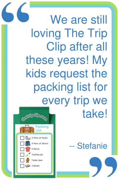 A picture packing list is a powerful thing – it teaches your kids to be responsible for themselves, while giving you time to get your own packing done!
