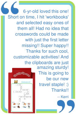 Fun and educational - keep the kids entertained while you travel. Young kids can practice first letter sounds, older kids will practice spelling and logic!