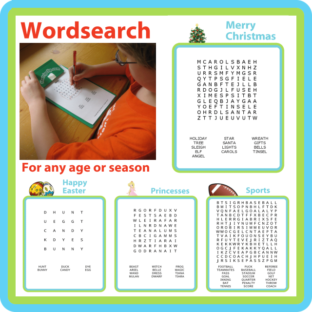 Wordsearch puzzles are a great entertainment, especially when they are personalized! The Trip Clip offers word search puzzles that can be made super easy (5x5) or much harder (15x15). There are 18 themes to choose from, ranging from holidays to animals to Star Wars. You can also easily enter your own list of words and a puzzle will be automatically generated for you.