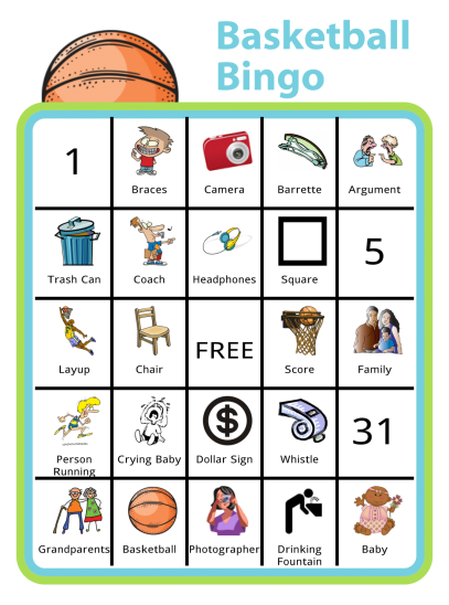 Bingo is a great way to keep the kids entertained in many situations. This Basketball Bingo Board will help keep siblings entertained during basketball games.