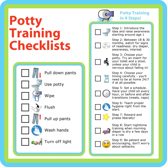 Potty training can be such a stressful thing for parents - especially if it's your first time through it! Below are some checklists to help you and your kids figure this out.