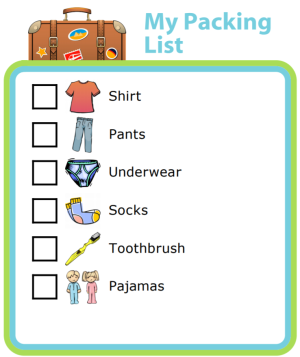 A picture packing list is a great way to teach your kids important life skills! For younger kids, make the list for them and let them collect and pack the items themselves (just be sure to double check their work!). For older kids, have them make their packing list themselves, and then go over it with them to make sure they're not forgetting anything.
