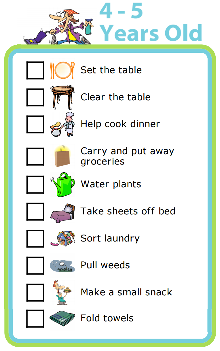 photograph about Printable Chore Chart for 4 Year Old known as Totally free Printable: Chores for 4-5 Calendar year Olds The Vacation Clip