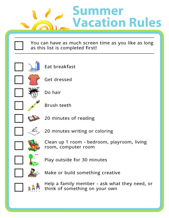 Picture checklist of summer vacation rules for kids