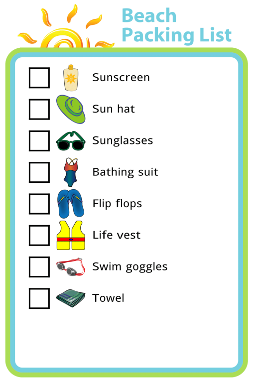 Packing lists are such a wonderful thing. I love having a printed list I can use to make sure we don't forget anything when we head out the door, and a picture packing list for a trip to the beach lets your kids help collect what can often be a surprising amount of gear!