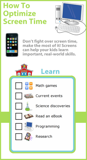Don't fight over screen time, make the most of it! Screens can help your kids learn important, real-world skills. Here are great suggestions for using technology to learn new things.