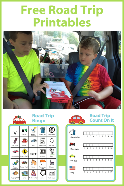 The Trip Clip has a wide variety of printable activities you can use with the small, kids-sized clipboard and 4-color pen to make your road trip go smoothly. Here is a free road trip BINGO board, a free counting game (it's a like a scavenger hunt), and a few printed tic tac toe boards that are perfect for keeping little ones entertained in the car.