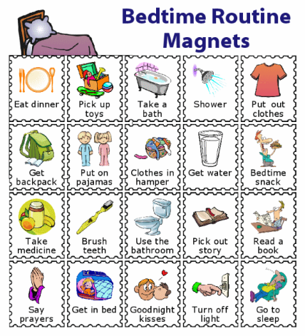 20 bedtime routine magnets for kids