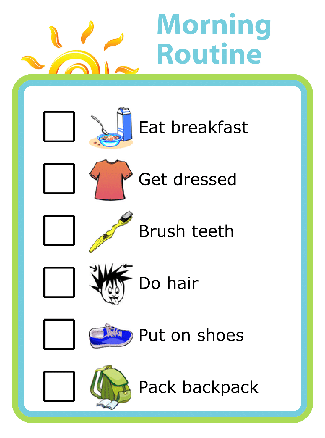 It's just a graphic of Playful Morning Routine Printable