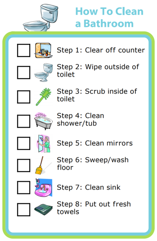 There are 2 goals when asking a kid to help clean. 1) Getting the room cleaned without doing it all yourself and 2) Teaching them how to do this task. These picture checklists are great as reminders for what needs doing, and also for helping your kids know there really is an end to this horrendous chore.
