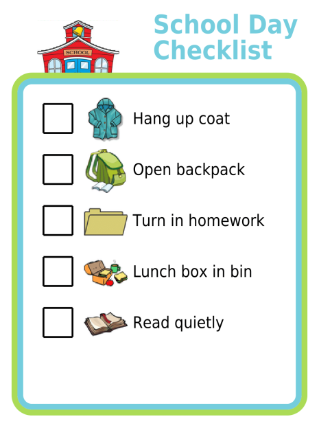 This list can help special needs kids remember what they need to do when they arrive at school each day. These kind of detailed picture checklists are a great way to help kids stay independent but still do all the things that are expected of them.