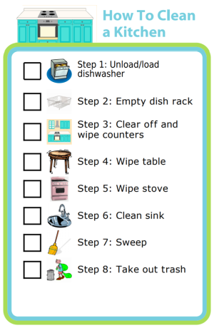 Try giving your kids a checklist to help them do a great job cleaning!