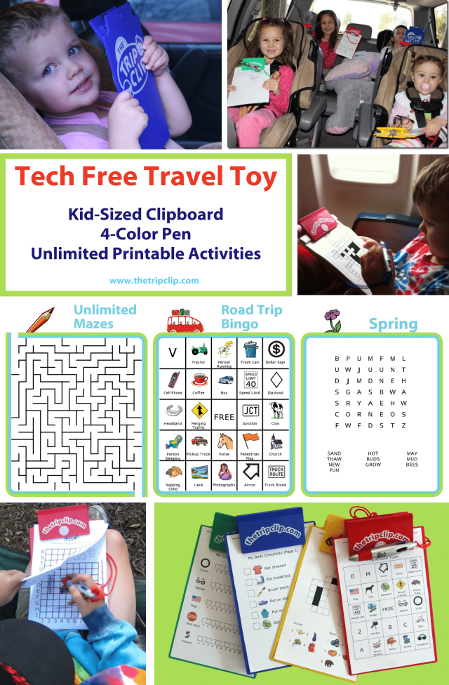 The Trip Clip Bundle comes with a kid-sized clipboard, a 4-color pen, lifetime access to the website where you can print unlimited travel activities, and a pack of pre-printed activity pages to make your next trip a breeze.
