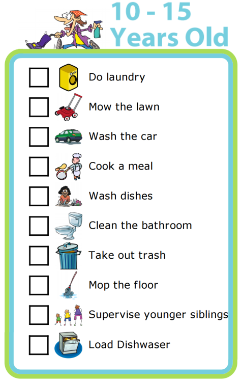 These are useful general guidelines, but you can easily edit these to make them right for your family. Chores are a great way to teach important skills and responsibility.