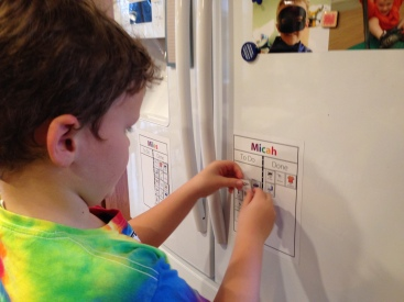 A magnetic picture checklist for kids is great for a morning routine, a bedtime routine, or chores!