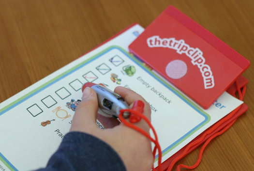 A kid-sized clipboard, 4-color pen, and a customized picture checklist to help with morning routines, bedtime routines, after school craziness, and chores!