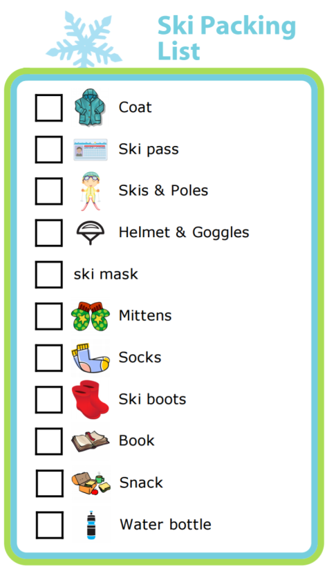 A ski packing list can give you peace of mind for your next mountain adventure. The pictures make it easy for littler skiers to help!