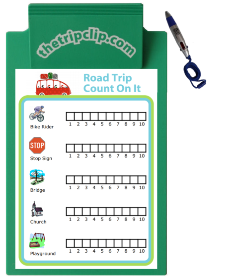Keep your kids entertained while running errands. Try it with a clipboard and pen from The Trip Clip. Great for busy working parents!