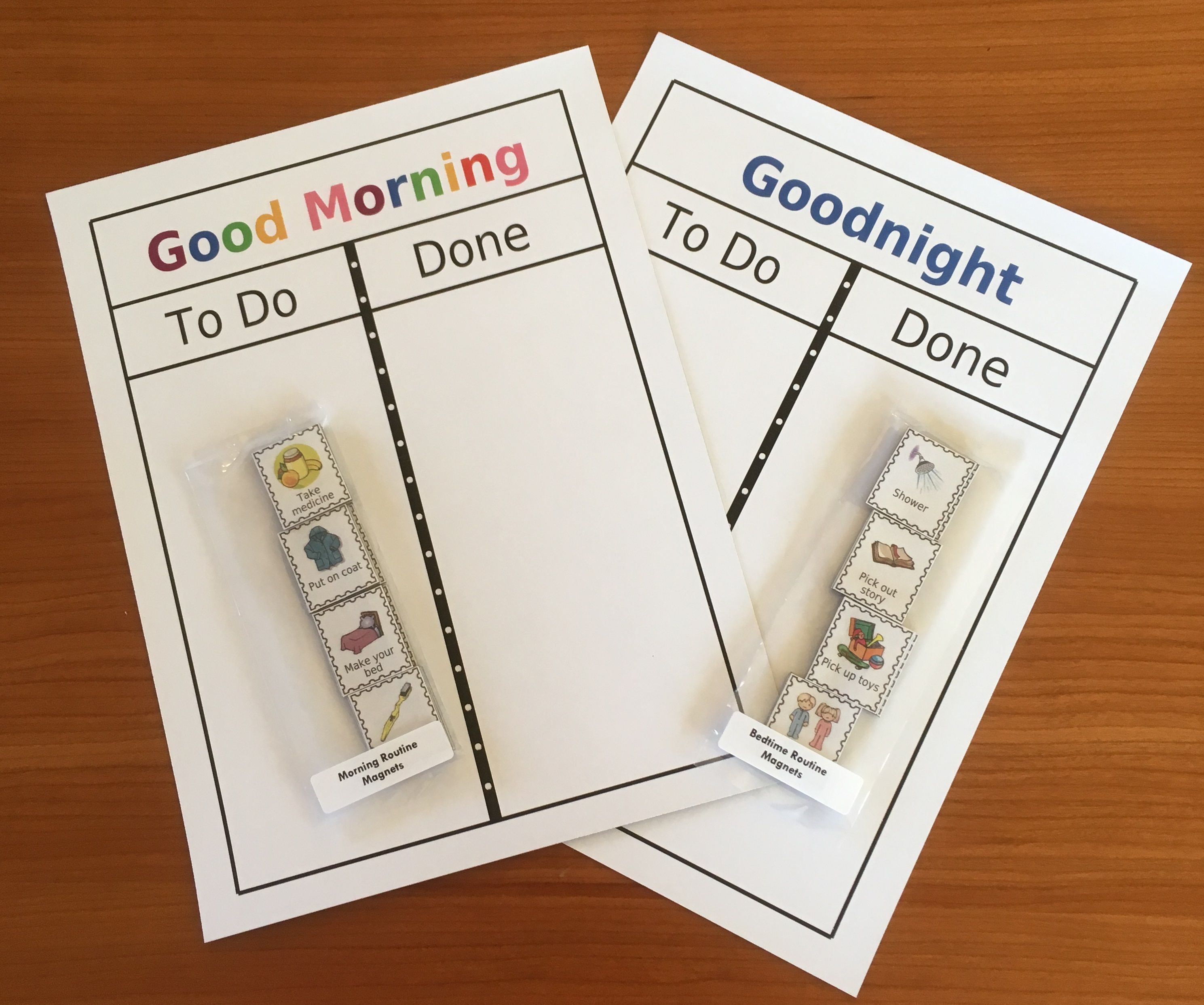 Check out these magnet boards Nicole from Idaho ordered. I like her idea of using the time of day instead of the child's name at the top of the board. And her choice of blue for bedtime and rainbow letters for the morning is perfect!