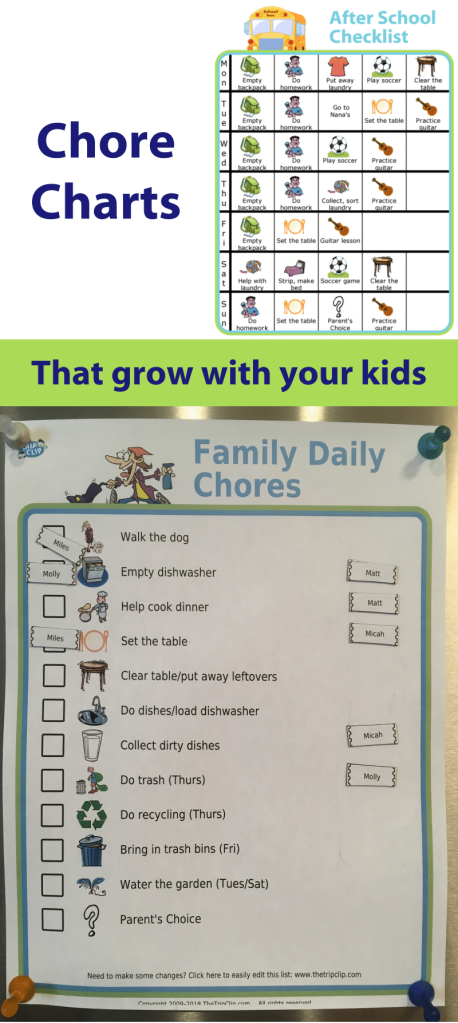 I made each of these charts with The Trip Clip. It offers a very flexible solution to creating a chore chart that is just right for whatever your family needs.
