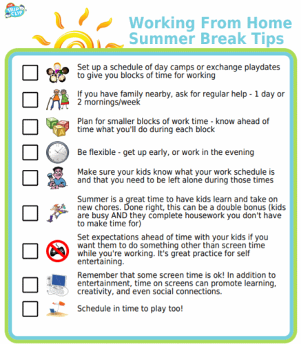 Moms who work from home can have a rough time managing the kids' summer break from school. Try these tips to help you get through it!