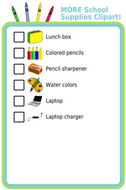 In time for the new school year, I've added some more customer requested clipart to the school supplies checklist.  With a picture list your littlest shoppers can take charge of finding their supplies!