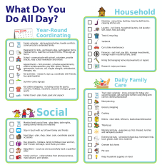 Taxonomy of parent responsibilities grouped by Household, Social, Year-Round Coordinating, and Daily Family Care