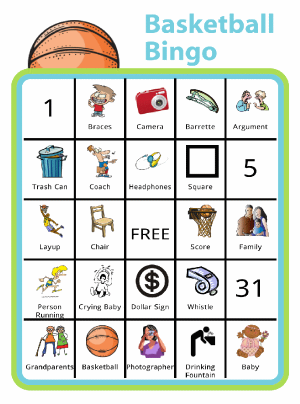 Bingo board with basketball at the top and titled Basketball Bingo