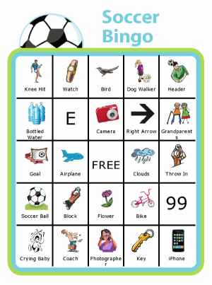 Bingo board with soccer ball at the top and titled Soccer Bingo