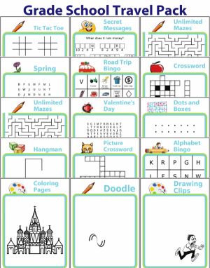 15 travel activities like bingo, mazes, coloring, wordsearch, crosswords, drawing, and more