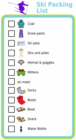 Picture checklist for making a ski packing list